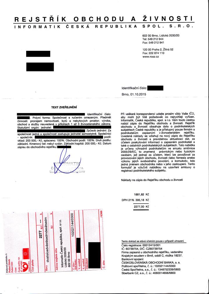 REJSTŘÍK OBCHODU A ŽIVNOSTI - Informatik-Česká republika, spol. s r.o.